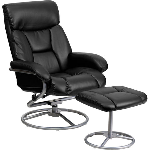 Flash Furniture Contemporary Black Leather Recliner & Ottoman w/ Metal Base - BT-70230-BK-CIR-GG
