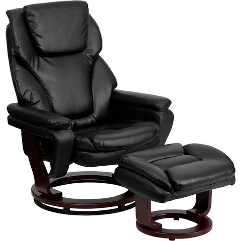 Flash Furniture Contemporary Black Leather Recliner & Ottoman w/ Swiveling Mahogany Wood Base - BT-70222-BK-FLAIR-GG