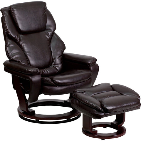 Flash Furniture Contemporary Brown Leather Recliner & Ottoman w/ Swiveling Mahogany Wood Base - BT-70222-BRN-FLAIR-GG