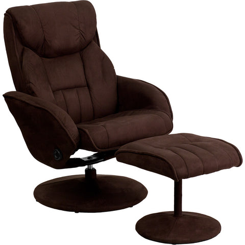 Flash Furniture Contemporary Brown Microfiber Recliner & Ottoman w/ Circular Microfiber Wrapped Base - BT-7895-MIC-PINPOINT-GG