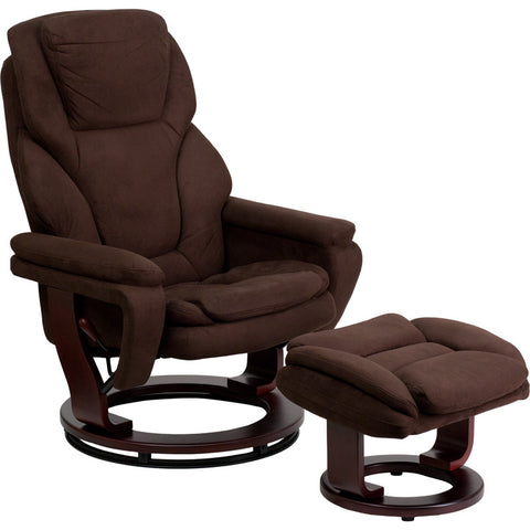 Flash Furniture Contemporary Brown Microfiber Recliner & Ottoman w/ Swiveling Mahogany Wood Base - BT-70222-MIC-FLAIR-GG