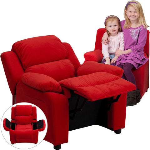 Flash Furniture Deluxe Heavily Padded Contemporary Red Microfiber Kids Recliner w/ Storage Arms - BT-7985-KID-MIC-RED-GG