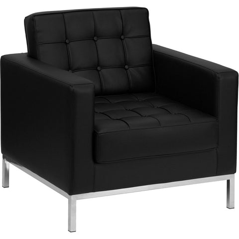 Flash Furniture Hercules Lacey Series Contemporary Black Leather Chair w/ Stainless Steel Frame - ZB-LACEY-831-2-CHAIR-BK-GG