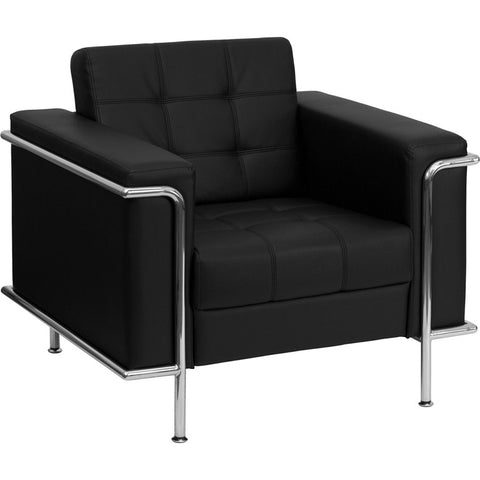 Flash Furniture Hercules Lesley Series Contemporary Black Leather Chair w/ Encasing Frame - ZB-LESLEY-8090-CHAIR-BK-GG