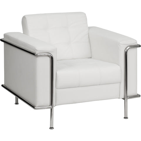 Flash Furniture Hercules Lesley Series Contemporary White Leather Chair w/ Encasing Frame - ZB-LESLEY-8090-CHAIR-WH-GG