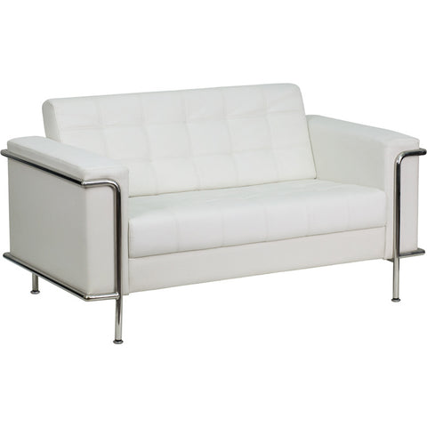 Flash Furniture Hercules Lesley Series Contemporary White Leather Loveseat w/ Encasing Frame - ZB-LESLEY-8090-LS-WH-GG