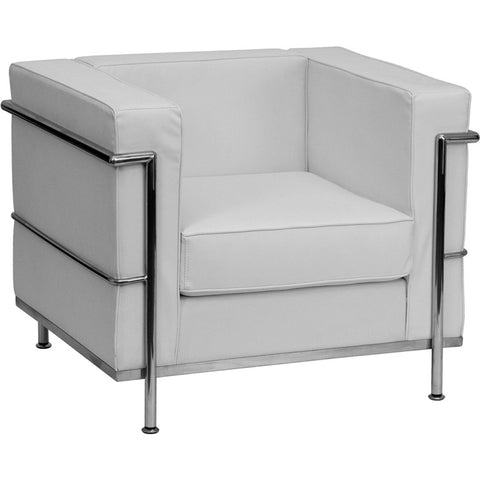 Flash Furniture Hercules Regal Series Contemporary White Leather Chair w/ Encasing Frame - ZB-REGAL-810-1-CHAIR-WH-GG