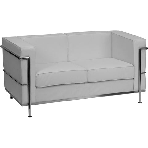 Flash Furniture Hercules Regal Series Contemporary White Leather Loveseat w/ Encasing Frame - ZB-REGAL-810-2-LS-WH-GG
