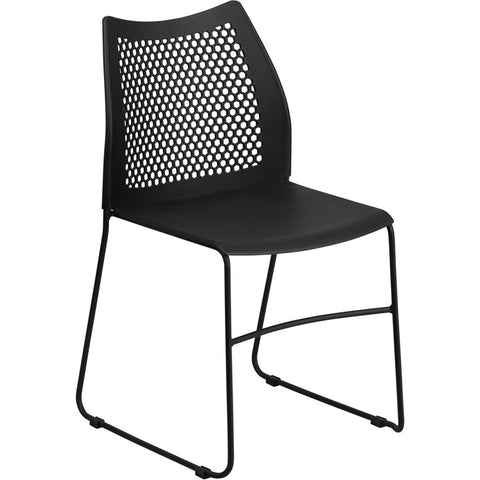 Flash Furniture Hercules Series 661 Pounds Capacity Black Sled Base Stack Chair With Air-Vent Back
