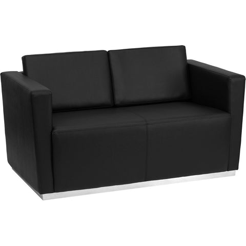 Flash Furniture Hercules Trinity Series Contemporary Black Leather Loveseat w/ Stainless Steel Base - ZB-TRINITY-8094-LS-BK-GG