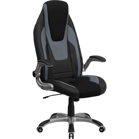 Flash Furniture High Back Black & Gray Vinyl Executive Office Chair w/ Black Mesh Insets & Flip Up Arms - CH-CX0326H02-GG