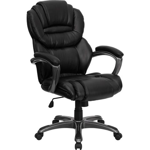 Flash Furniture High Back Black Leather Executive Office Chair w/ Leather Padded Loop Arms - GO-901-BK-GG