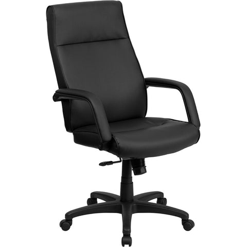 Flash Furniture High Back Black Leather Executive Office Chair w/ Memory Foam Padding - BT-90033H-BK-GG