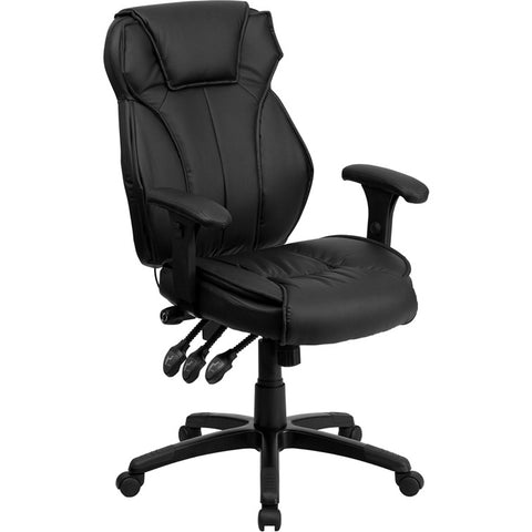 Flash Furniture High Back Black Leather Executive Office Chair w/ Triple Paddle Control - BT-9835H-GG