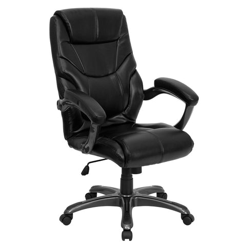 Flash Furniture High Back Black Leather Overstuffed Executive Office Chair - GO-724H-BK-LEA-GG