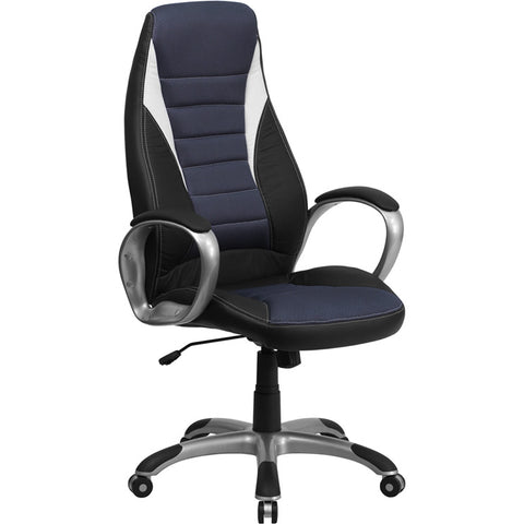 Flash Furniture High Back Black Vinyl Executive Office Chair w/ Blue Mesh Insets - CH-CX0243H-SAT-GG