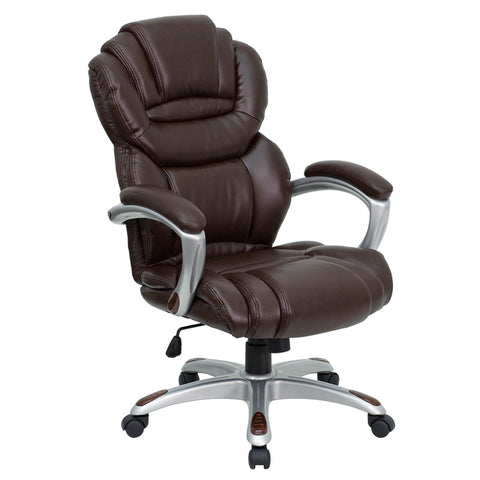 Flash Furniture High Back Brown Leather Executive Office Chair w/ Leather Padded Loop Arms - GO-901-BN-GG