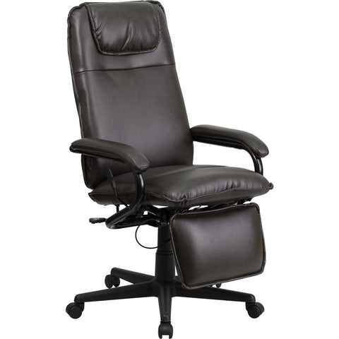 Flash Furniture High Back Brown Leather Executive Reclining Office Chair - BT-70172-BN-GG