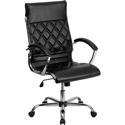 Flash Furniture High Back Designer Black Leather Executive Office Chair w/ Chrome Base - GO-1297H-HIGH-BK-GG