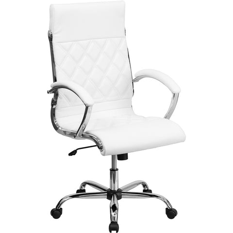 Flash Furniture High Back Designer White Leather Executive Office Chair w/ Chrome Base - GO-1297H-HIGH-WHITE-GG