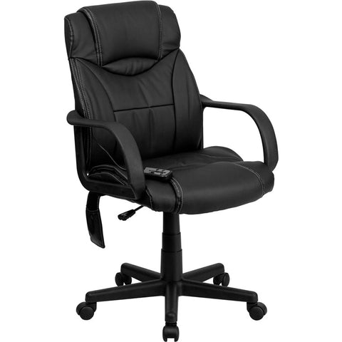 Flash Furniture High Back Massaging Black Leather Executive Office Chair - BT-2690P-GG