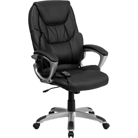 Flash Furniture High Back Massaging Black Leather Executive Office Chair w/ Silver Base - BT-9806HP-2-GG