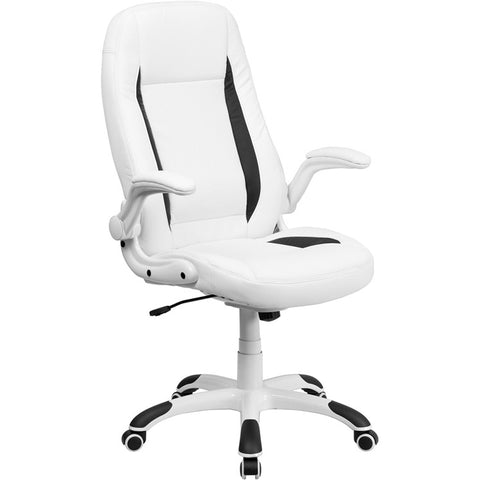 Flash Furniture High Back White Leather Executive Office Chair w/ Flip-Up Arms - CH-CX0176H06-WH-GG