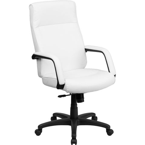 Flash Furniture High Back White Leather Executive Office Chair w/ Memory Foam Padding - BT-90033H-WH-GG