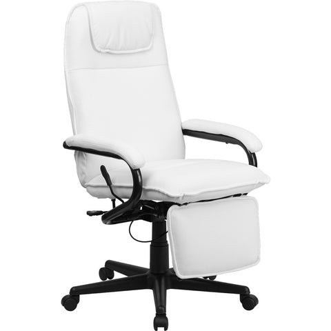 Flash Furniture High Back White Leather Executive Reclining Office Chair - BT-70172-WH-GG