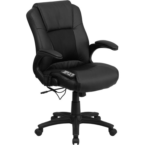 Flash Furniture Massaging Black Leather Executive Office Chair - BT-2536P-1-GG