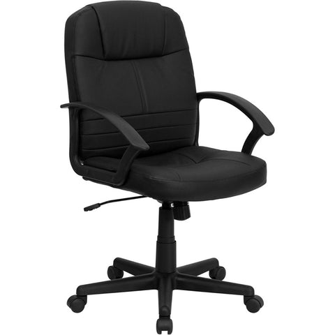 Flash Furniture Mid-Back Black Leather Executive Swivel Office Chair - BT-8075-BK-GG