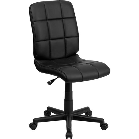 Flash Furniture Mid-Back Black Quilted Vinyl Task Chair - GO-1691-1-BK-GG