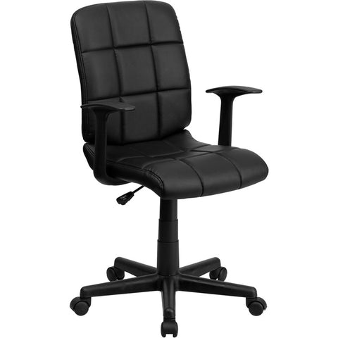 Flash Furniture Mid-Back Black Quilted Vinyl Task Chair w/ Nylon Arms - GO-1691-1-BK-A-GG