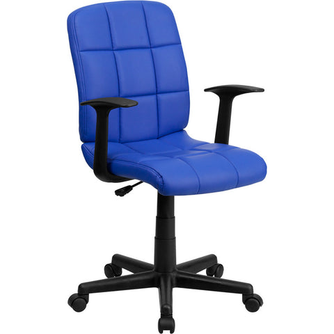 Flash Furniture Mid-Back Blue Quilted Vinyl Task Chair w/ Nylon Arms - GO-1691-1-BLUE-A-GG