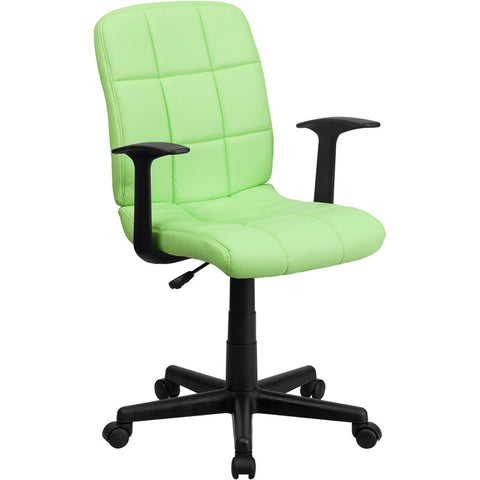 Flash Furniture Mid-Back Green Quilted Vinyl Task Chair w/ Nylon Arms - GO-1691-1-GREEN-A-GG