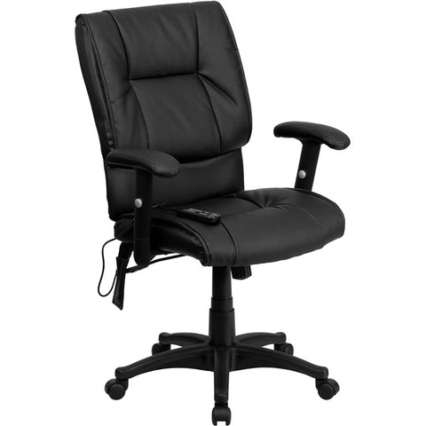 Flash Furniture Mid-Back Massaging Black Leather Executive Office Chair - BT-2770P-GG