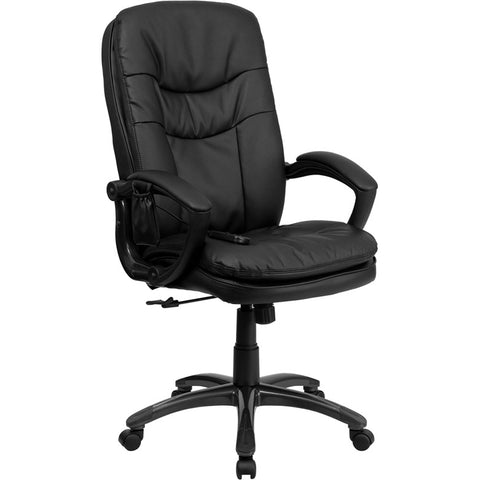 Flash Furniture Mid-Back Massaging Black Leather Executive Office Chair - BT-9585P-GG
