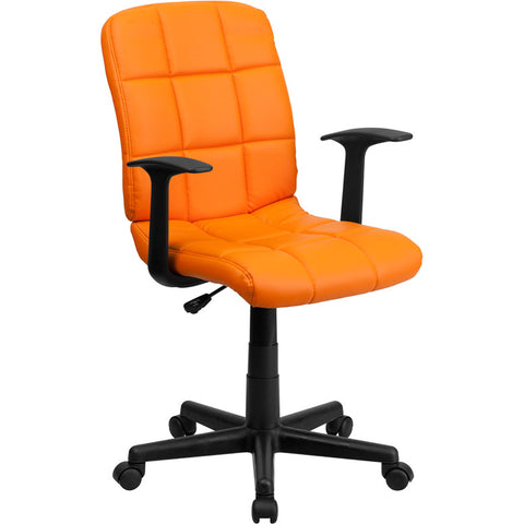 Flash Furniture Mid-Back Orange Quilted Vinyl Task Chair w/ Nylon Arms - GO-1691-1-ORG-A-GG