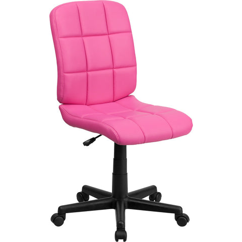 Flash Furniture Mid-Back Pink Quilted Vinyl Task Chair - GO-1691-1-PINK-GG