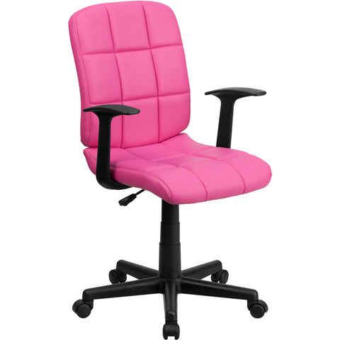 Flash Furniture Mid-Back Pink Quilted Vinyl Task Chair w/ Nylon Arms - GO-1691-1-PINK-A-GG