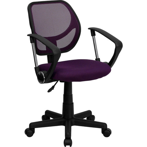 Flash Furniture Mid-Back Purple Mesh Task Chair & Computer Chair w/ Arms - WA-3074-PUR-A-GG