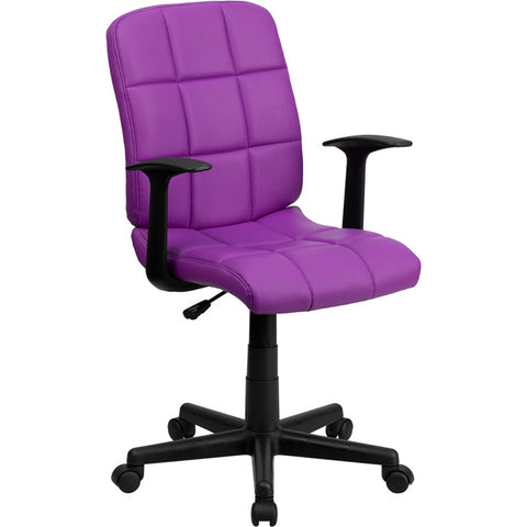 Flash Furniture Mid-Back Purple Quilted Vinyl Task Chair w/ Nylon Arms - GO-1691-1-PUR-A-GG