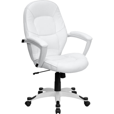Flash Furniture Mid-Back White Leather Executive Office Chair - QD-5058M-WHITE-GG