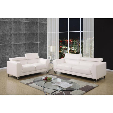 Global Furniture 2 Piece Living Room Set in Brilliant Pure White