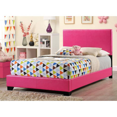 Global Furniture 8103-P Upholstered Platform Bed in Pink Faux Leather
