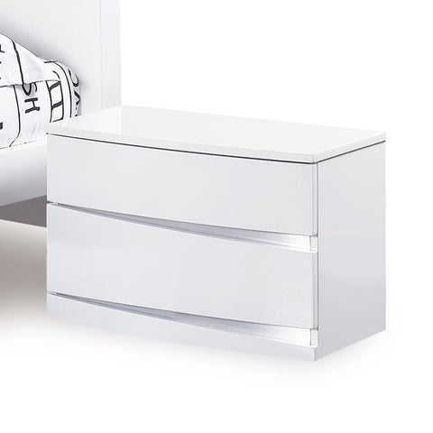 Global Furniture Aurora 2 Drawer Nightstand in White