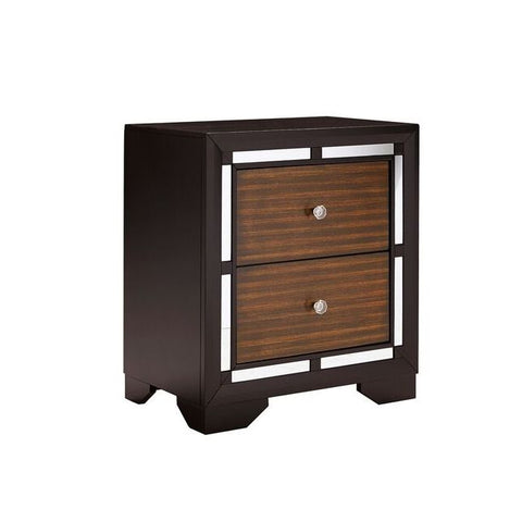 Global Furniture Camila Nightstand in Dark Wood & Brown