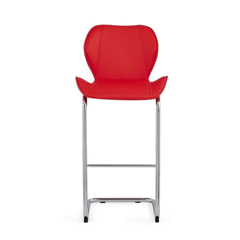 Global Furniture D1446BS Red PU Curved Barstool