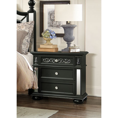 Global Furniture Diana Black Nightstand w/ USB Port
