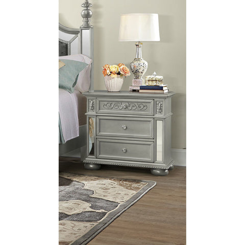 Global Furniture Diana Silver Nightstand w/USB Port